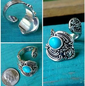 Turquoise Howlite Vintage Inspired Spoon Ring